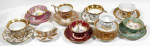 081020 MEISSEN  SEVRES PORCELAIN TEA CUPS  SAUCERS