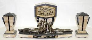 081060 MONNOT ART DECO ONYX CLOCK GARNITURE C1930