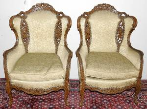 081053 FRENCH STYLE WALNUT WING BACK CHAIRS