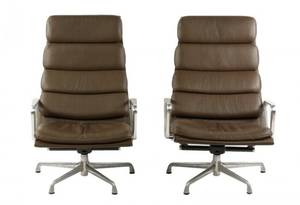 Pair of Eames Soft Pad Group Lounge Chairs
