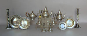 Large group of pewter table articles