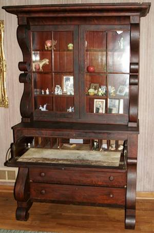 071033 AMERICAN EMPIRE MAHOGANY SECRETARY BOOKCASE