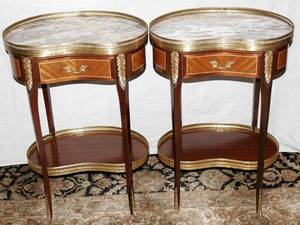 071044 FRENCH STYLE MARBLE TOP COMMODES H 29