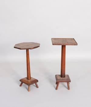 Two country oak candlestands