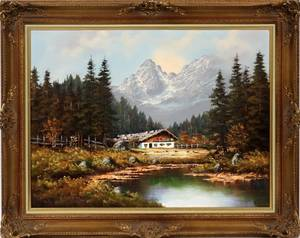 OIL PAINTING ON CANVAS SWISS COTTAGE IN MOUNTAINS