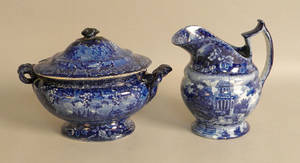 Blue Staffordshire covered tureen and pitcher