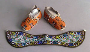 Pair of Native American beaded childs moccasins