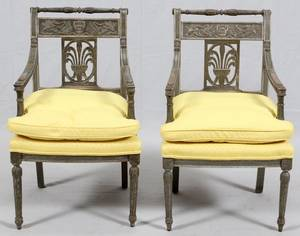 FRENCH DIRECTOIRE STYLE CARVED WOOD ARM CHAIRS