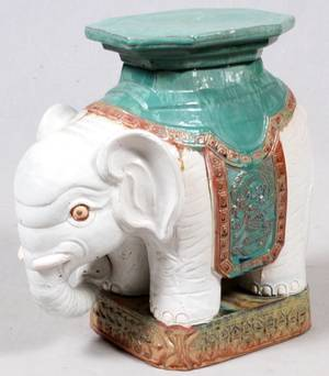 CHINESE PAINTED POTTERY ELEPHANT GARDEN SEAT