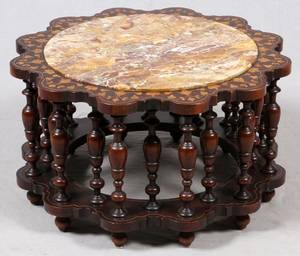 MARQUETRY INLAID MAHOGANY MARBLE TOP TABLE C 1920