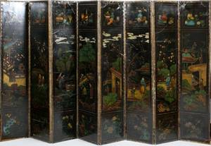 CHINESE HAND PAINTED 8 PANEL SCREEN