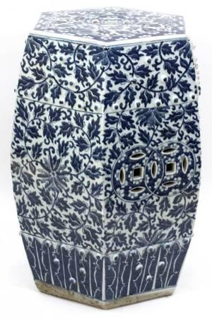 CHINESE BLUE  WHITE PORCELAIN GARDEN SEAT