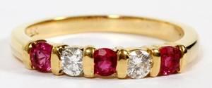 18KT YELLOW GOLD RUBY  DIAMOND BAND RING