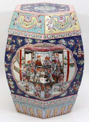 CHINESE PORCELAIN HEXAGONAL GARDEN SEAT