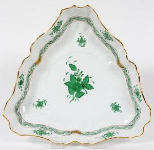 HEREND CHINESE BOUQUETGREEN PORCELAIN BOWL