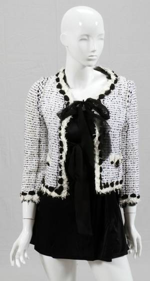 CHANEL WHITE TWEED JACKET W BLACK SILK RIBBON