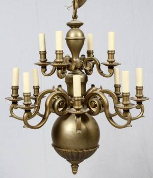 DUTCH TWELVELIGHT TWO TIER BRASS CHANDELIER