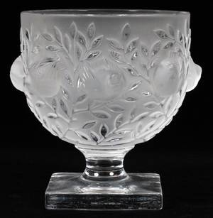 LALIQUE ELISABETH FROSTED GLASS COMPOTE