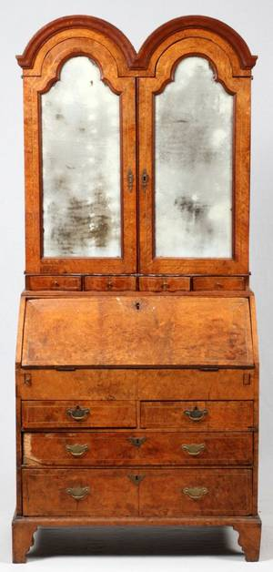 ENGLISH BURL WALNUT ELM  OAK SECRETARY 18TH C