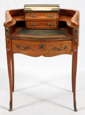 FRENCH LOUIS XV STYLE FRUITWOOD  MAHOGANY DESK