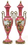 FRENCH PINK PORCELAIN URNS C 19201930 PAIR