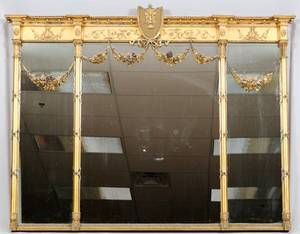 CARVED GILT WOOD  GESSO OVERMANTEL MIRROR