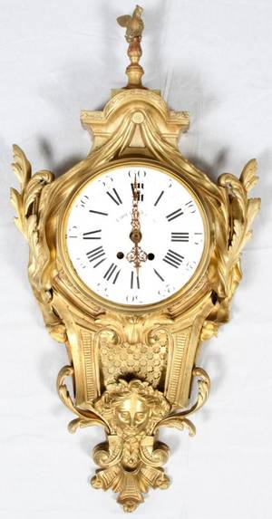 FRENCH DORE BRONZE CARTEL CLOCK LATE 19TH C