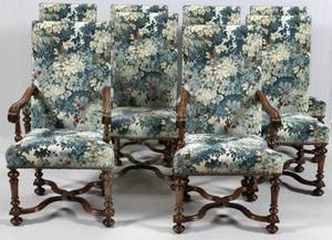 WALNUT ENGLISH STYLE DINING CHAIRS SET OF EIGHT