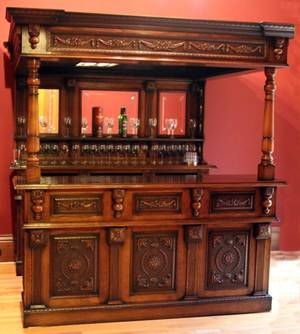 CARVED MAHOGANY  BURLED WALNUT BAR