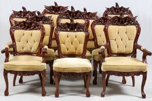 HAND CARVED MAHOGANY EAGLE BACK DINING CHAIRS