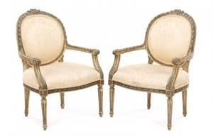Pair Diminutive Louis XVI Style Fauteuils
