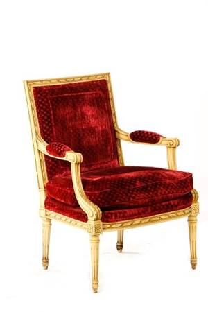 Louis XVI Style Chenille Covered Fauteuil Karges