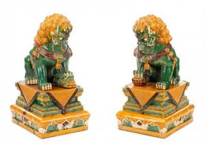 Pair of 34 Chinese Sancai Glazed Pottery Foo Dogs