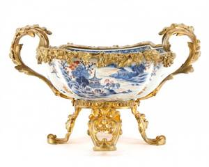 18th C Chinese Export Center Bowl on Gilt Stand