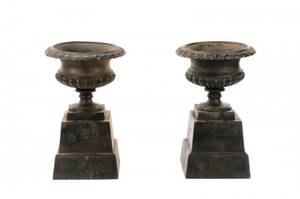 Pair Of Cast Iron Gadrooned Garden Urns On Stands