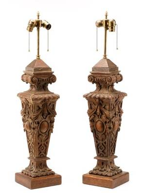 Pair of Large Carved Oak Neoclassical Table Lamps