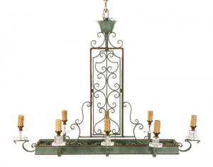 Art Deco Style Patinated Iron 8 Light Chandelier