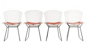 Set of 4 Bertoia for Knoll White Side Chairs