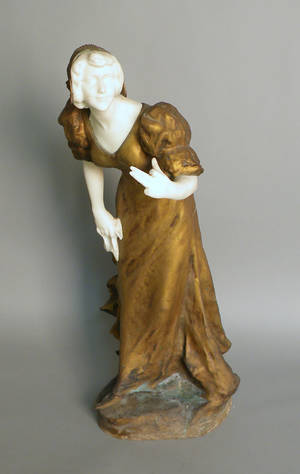 Gilt bronze and marble figure of a woman