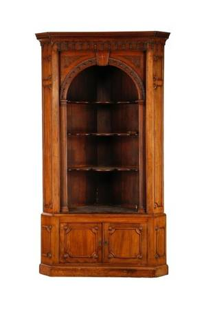 19th C English Gothic Revival Style Corner Cabinet