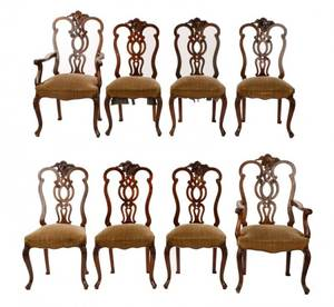 Set of 8 Rococo Walnut Dining Chairs 18th C