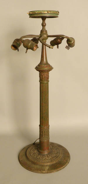 Tiffany Studios patinated bronze Roman lamp base
