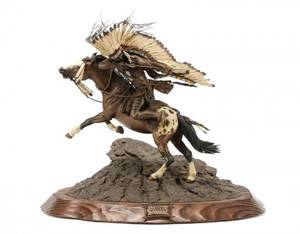 Don Baker Lakota War Cry Bronze Sculpture