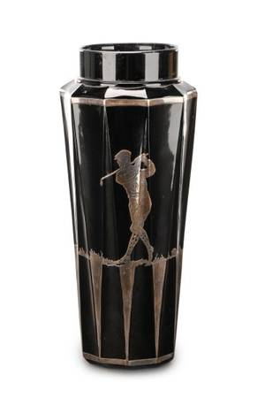 Black Glass Vase with Silver Overlay Golfer Motif