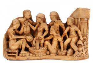 Relief Carved Wood Figural Group Signed Pierre
