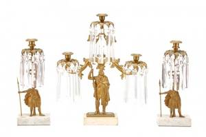 Three Piece Figural Gilt Bronze Girandole Set