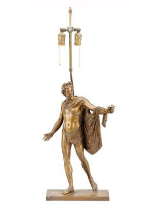 Classical Style Figural Bronze Converted To Lamp