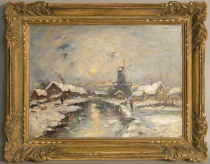 Dutch oil on canvas winter landscape
