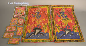Large group of unframed Hindu paintings