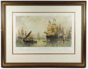 Hand Colored Etching of The Spanish Armada D Law